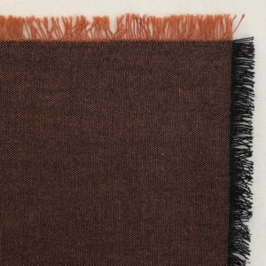 Rich brown fabric swatch, showing black warp and coppery weft