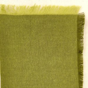 Leafy green fabric swatch, showing olive green warp and light olive weft