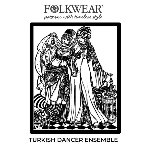 Cover of Turkish Dancer pattern package. Line drawing of two dancers in full 3-piece dancer's ensembles.
