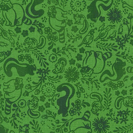 Green-on-green fabric with allover print of cute, woodland animals.