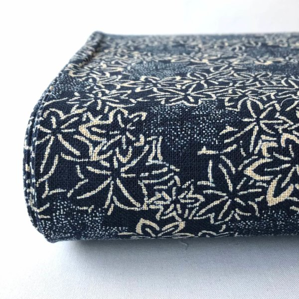 Indigo homespun with all-over print of japanese maple leaves