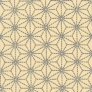Light ivory fabric with traditional asanoha (hemp leaf) motif printed in dark blue.