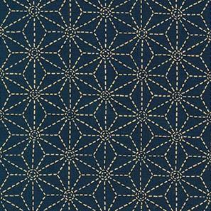 Deep Indigo fabric with traditional asanoha (hemp leaf) motif printed in off white.