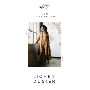 Cover image of the Lichen Duster pattern package. Full length photo of model wearing a long, wrapping garment that can be worn as a lightweight coat, wrap dress, or robe.