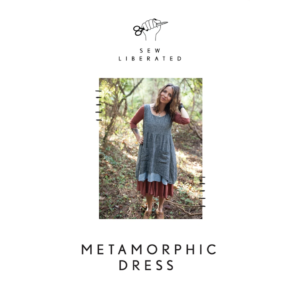 Cover image of the Metamorphic Dress pattern package. Full length photo of model standing outside in dappled light wearing the Metamorphic Dress layered over a long-sleeve top.