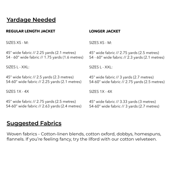 Yardage Needed: 2 to 3.5 yards, depending on width of fabric and size of finished garment