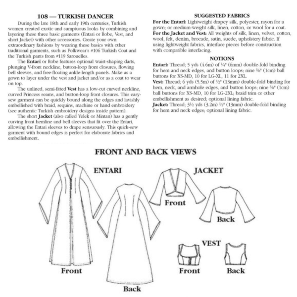 turkish dancer fabric suggestions, line drawings, and garment specifications