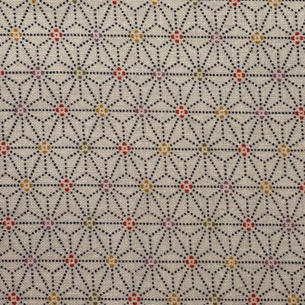 Off-white fabric with dotted black, 1-inch interlocking asanoha (hemp leaf) motif and tiny, multi-colored centers