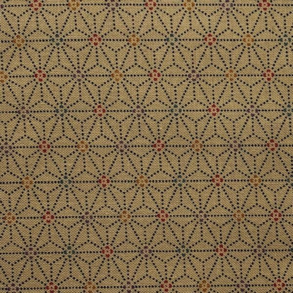 Straw-colored fabric with dotted black, 1-inch interlocking asanoha (hemp leaf) motif and tiny, multi-colored centers