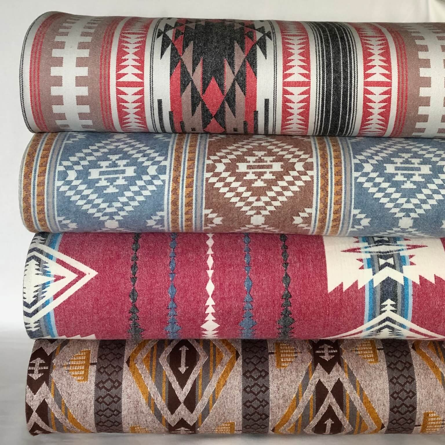 Stack of southwestern themed Taos Flannel