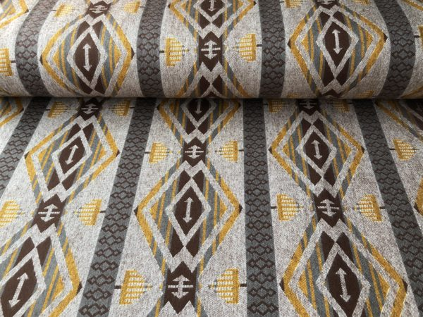 Southwest style flannel - tan, brown, golden yellow, and a hint of dark sea glass green