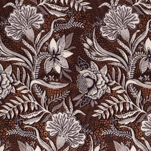 Brown cotton fabric printed with highly detailed white flowers and bronze metallic accents.
