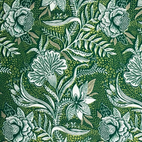 Green cotton fabric printed with highly detailed white flowers and gold metallic accents.