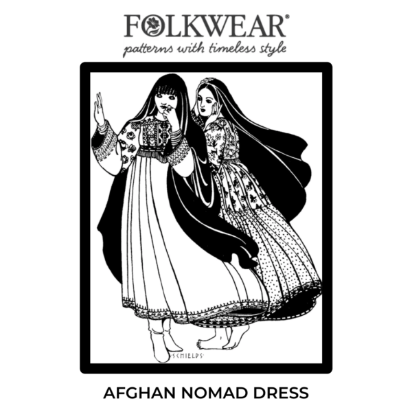 Front cover of pattern, line drawing of models wearing the full-length, long-sleeve dress.