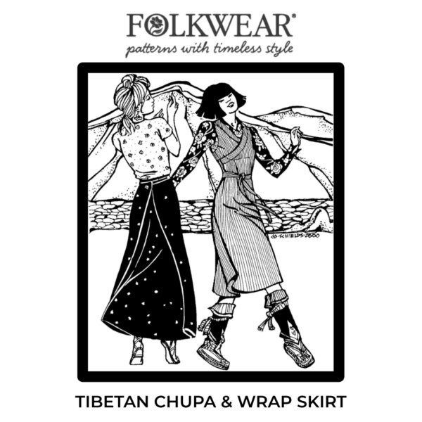 Cover image of pattern package, line drawing of two models, one in wrap skirt version, the other in wrap dress version.