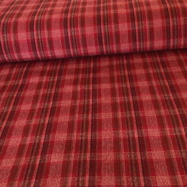 Red plaid, shot through with white, black, and gray