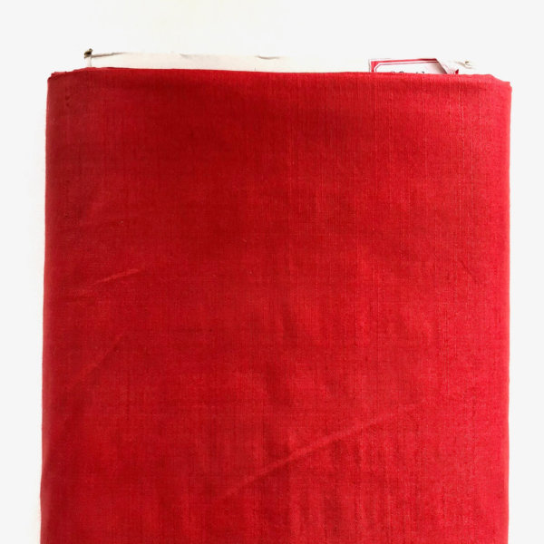 Strong, primary red silk fabric