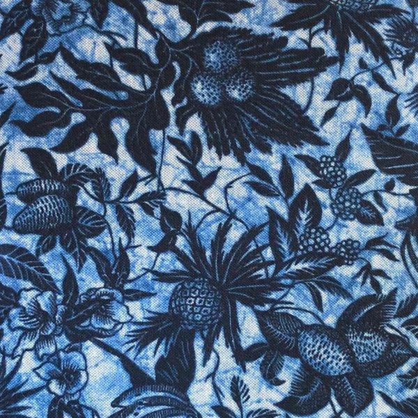 Blue on blue tropical batik print fabric