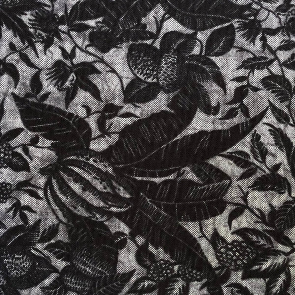 Black, charcoal, and softest fog tropical batik print fabric