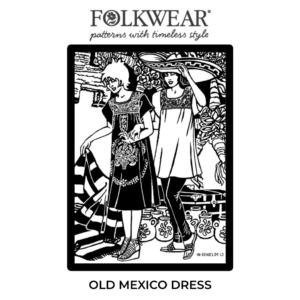 line drawn pattern cover, two models. One wear the Old Mexico dress. The other wears the tunic-like top with narrow pants.