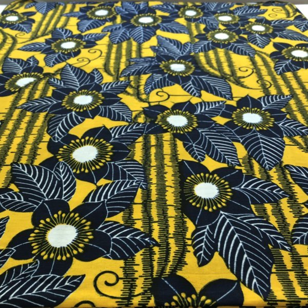 Yellow fabric clematis-like flowers printed in black