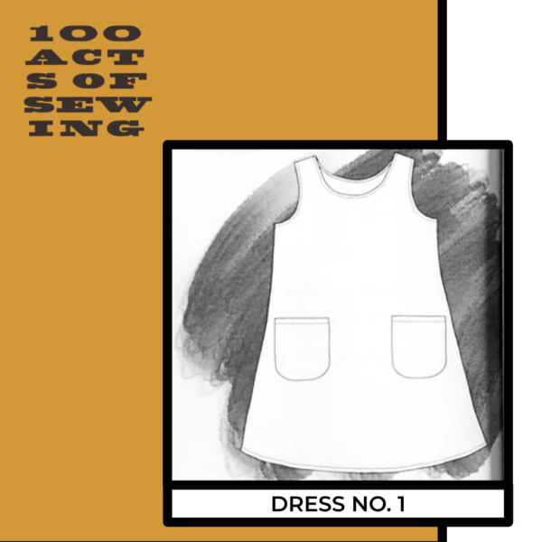 Pencil drawing of the sleeveless pinafore Dress Number One