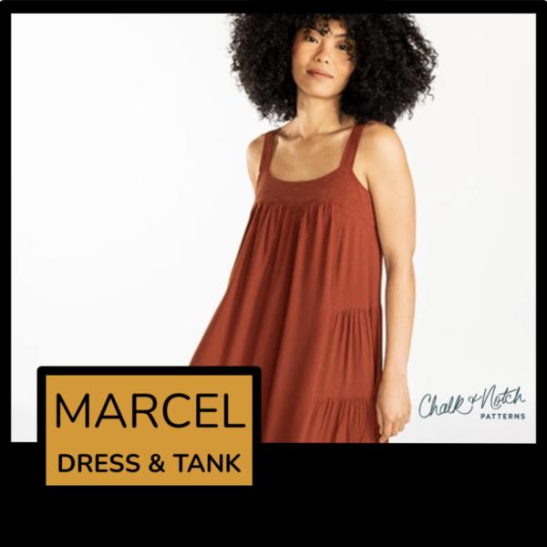 Model wearing a super cute sleeveless, tiered maxi dress