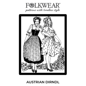 line drawn pattern cover, two models wearing Dirndl Ensemble - blouse, skirt, and dirndl bodice
