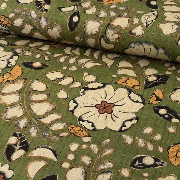 Medium green dobby fabric printed with white and gold blossoms and leaves