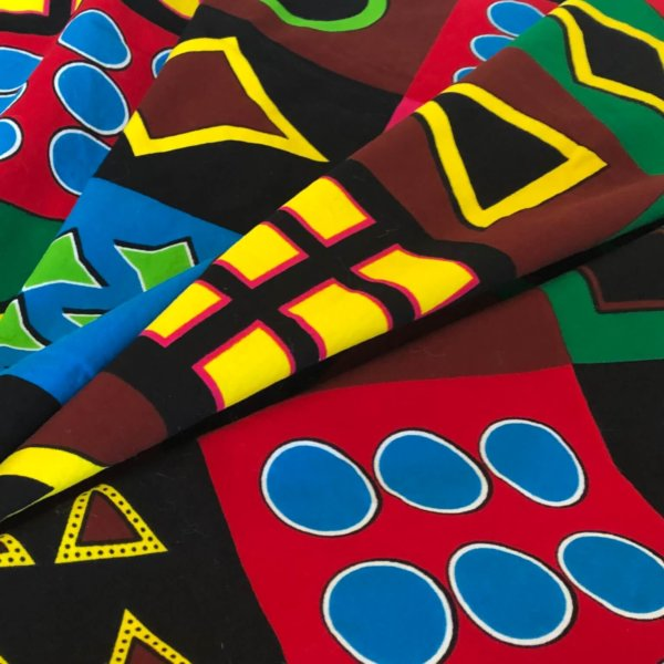 multi-colored large-scale geometric print fabric