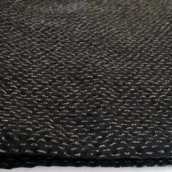 Rippling black seersucker with subtle gray parallel stitch print