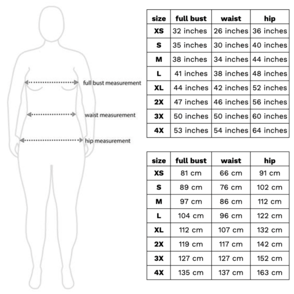 Size guide, full bust measurements: XS = 32 inches, S = 35 inches, M = 38 inches, L = 41 inches, XL = 44 inches, 2X = 47 inches, 3X = 50 inches, 4X = 53 inches