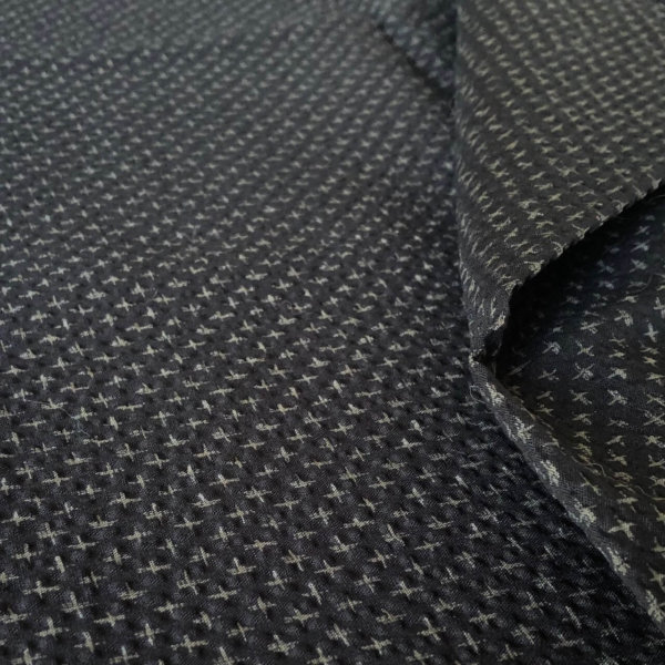 Rippling black seersucker with subtle gray Cross stitch print