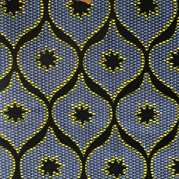 Predominently blue repeating pattern of interlocking ovoid shapes