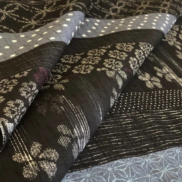 multi patterned black and gray dobby woven japanese fabric