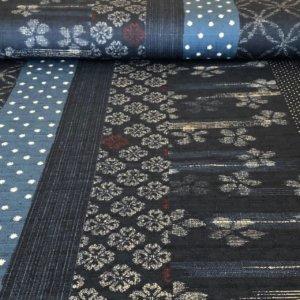 multi patterned dark indigo blue dobby woven japanese fabric