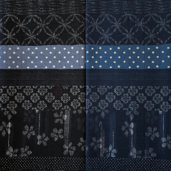 SIde by side comparison of this fabric in blue and in black