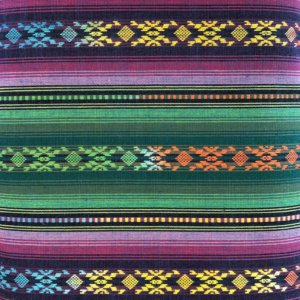 Bright and multicolored striped fabric, woven in a southwest motif