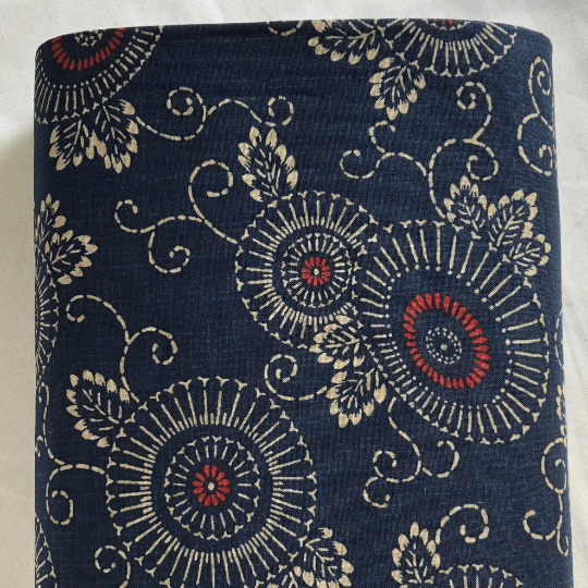 Traditional katazome-style parasol motif, white on indigo blue with red accents