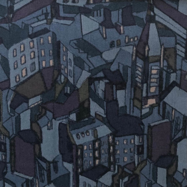 Closeup of slightly Cubist cityscape in blues, looking like a city at night