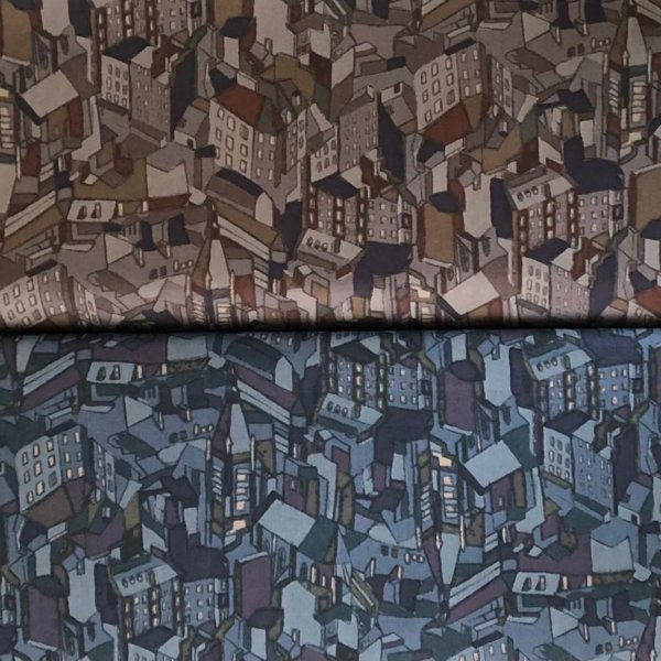 Cityscapes cotton lawn shown in two colorways