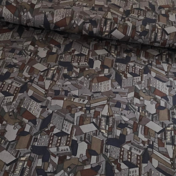 Closeup of slightly Cubist cityscape in grays, looking like a city at night