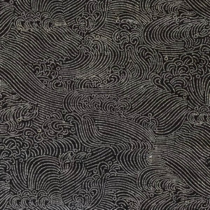 Dark indigo blue fabric with swirling whitecaps, like foam-tipped waves on a moonless night.