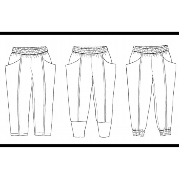 Line drawing of three design options for the arenite pant