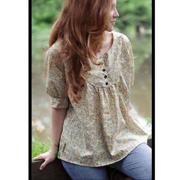 model wearing light color esme top