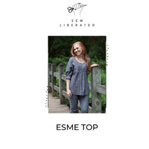 Model wearing blue, esme top.