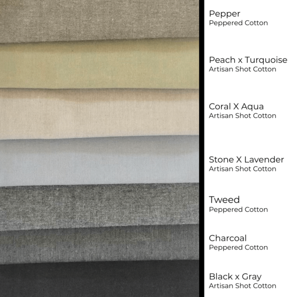 Seven neutral colors, ranging from near-black, to grays, to palest beige