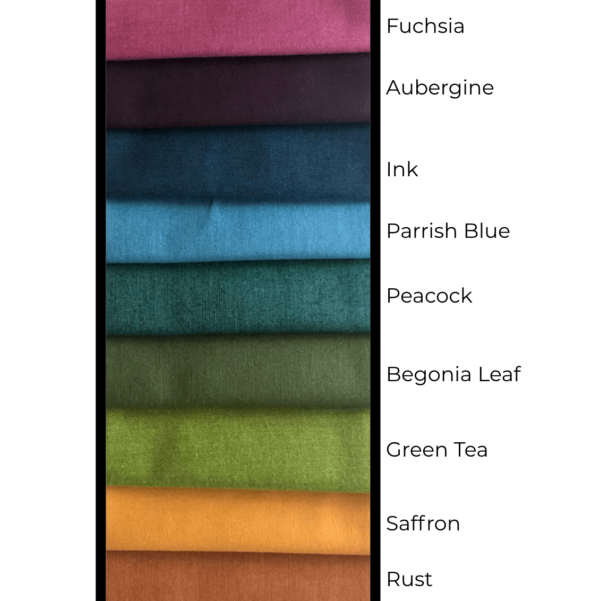 all colors in this bundle - fuchsia, aubergine, ink blue, parrish blue, peacock, begonia leaf, green tea, saffron, and rust