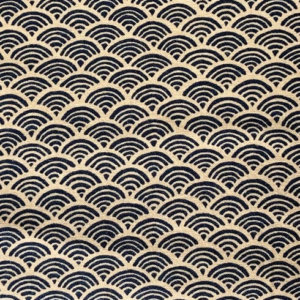 Dark navy blue scalloped waves printed on natural white.