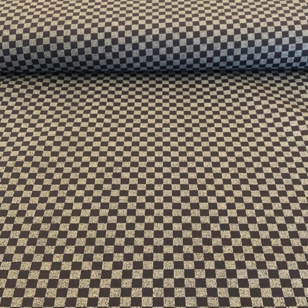 Dark blue fabric printed with an all-over grayish-white checkerboard motif.